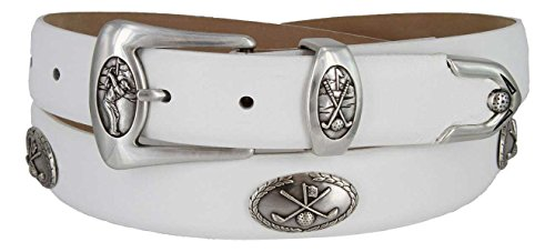 BC3109 - Men's Italian Calfskin Designer Dress Belt with Golf Conchos (38 Smooth White) (Designer Italian White Leather)