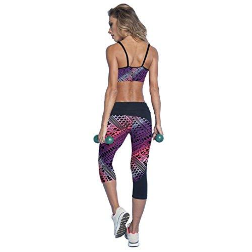 HARRYSTORE Mujer pantalones de yoga elásticos y deportivos de alta cintura de impresión Fitness Leggings Mujer capri polainas Purples-A