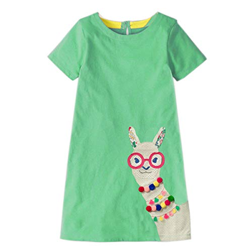 Little Girls Dress Casual Cotton Kids Unicorn Appliques Striped Jersey Dress (2T, 1gds102)