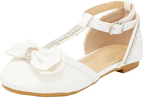 Cambridge Select Girls' Closed Toe T-Strap Buckle Crystal Rhinestone Bow Ballet Flat (Toddler/Little Kid/Big Kid),2 M US Little Kid,White