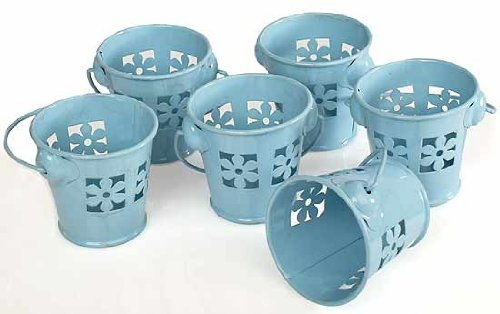 24 Miniature Soft Blue Pails with Flower Cutouts for Favors, Showers, and (Flower Pail)