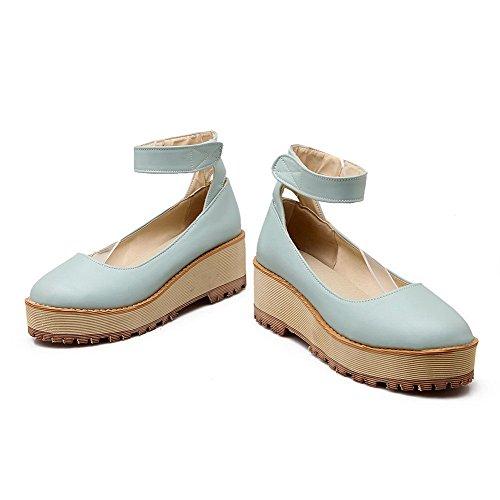 AllhqFashion Mujeres Sólido Plataforma Puntera Redonda Cerrada Velcro De salón Azul