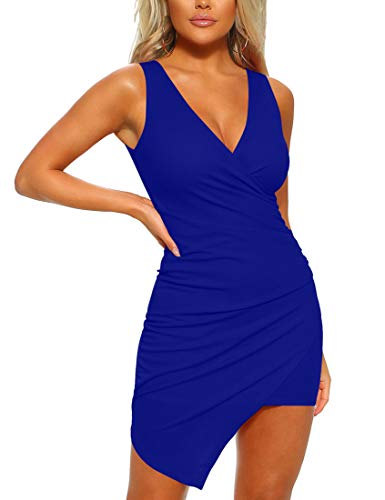 - Mizoci Women's Casual Sleeveless Ruched Cocktail Party Dresses Bodycon Mini Sexy Club Dress,X-Large,Royal Blue