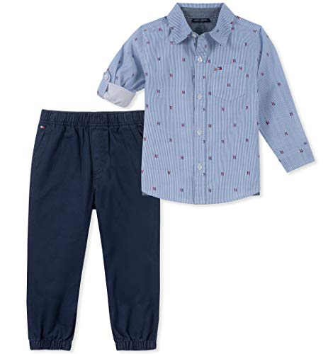 Tommy Hilfiger Baby Boys 2 Pieces Shirt Pants Set, Blue/Print, 3-6 Months