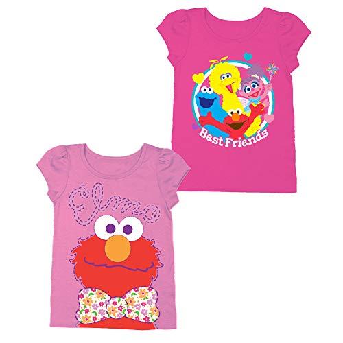 Sesame Street Short Sleeve Shirt – 2 Pack Sesame Street Tees – Elmo, Cookie Monster & Friends! (Light Pink/Hot Pink, 3T)