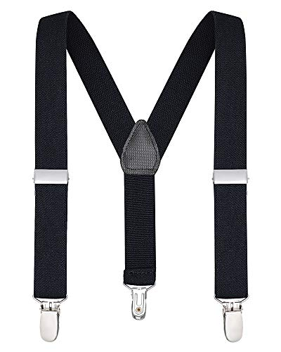 Buyless Fashion Suspenders for Kids and Baby Adjustable Elastic Solid Color 1 inch - 5102-Black-26 -