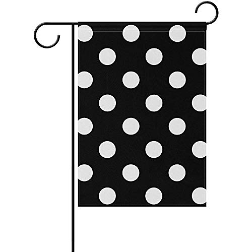 Black White-Polka-Dot-Background-Clipart Garden Flag 12