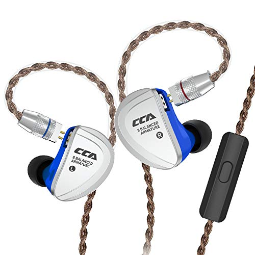 CCA C16 Total 16 Units Balanced Armatures Driver HiFi in-Ear Earphone,Best Precision Metal In Ear Headphone/Earphone With 4N Silver plated Detachable Cable, Gold plated 0.78mm 2 Pin Plug(With mic)