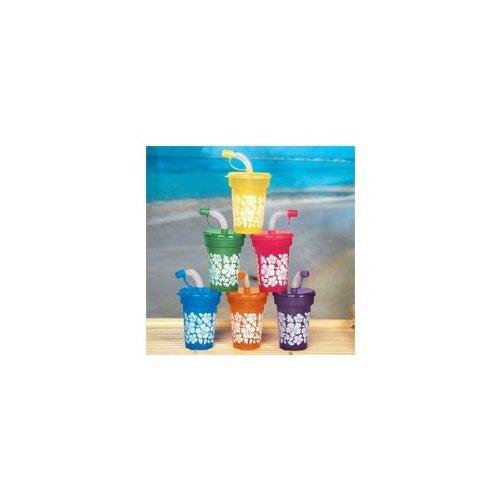 Fun Express Hibiscus Print Mini Sipper Cups (1 Dozen)