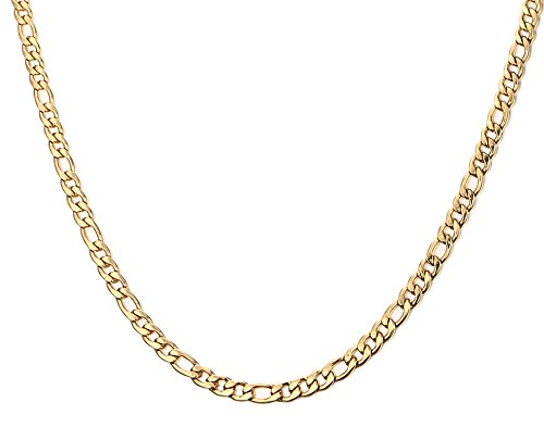 Mens Stainless Steel Figaro Chain Necklace,Gold,4.5mm Width,24 24 VNOX Jewelry NC--158