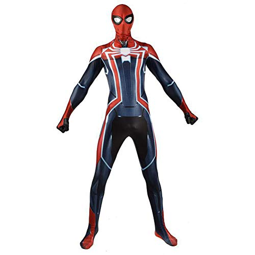 (White Set Miles Morales Spiderman Costume,Superhero Limited PS4 Bodysuit Adult Cosplay)