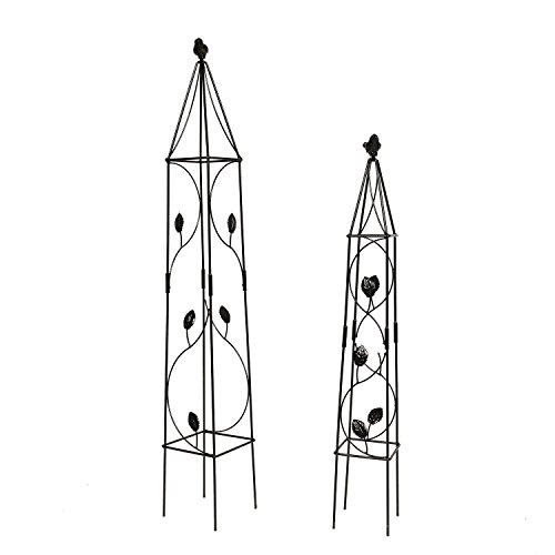 2 Packs Garden Obelisk Metal Trellis Flower Support for Climbing Vines and Plants, 31.5