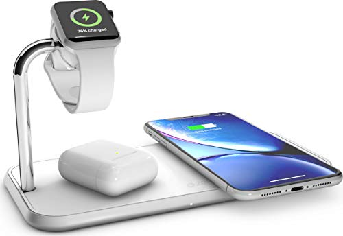 ZENS Qi- y MFi-Certificado Cargador inalámbrico Triple de Aluminio para Dos Dispositivos + Apple Watch, Fast Charging…