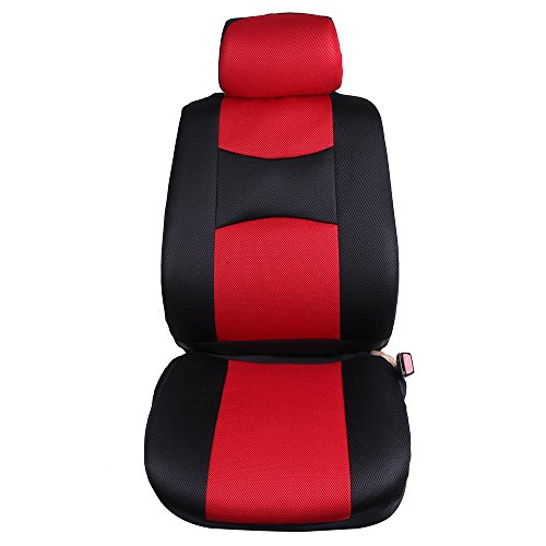 ECCPP Universal Car Seat Cover w/Headrest/Steering Wheel/Shoulder Pads - 100% Breathable Mesh Cloth Stretchy Durable for Most Cars Trucks Vans(Red/Black) by ECCPP (Image #8)