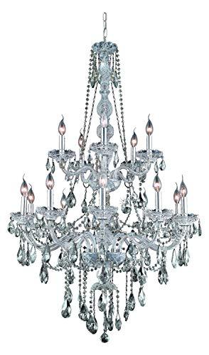 (Elegant Lighting 7915G33C-Gt/Ss Swarovski Elements Smoky Golden Teak Crystal Verona 15-Light, Two-Tier Crystal Chandelier, Finished in Chrome with Smoky Golden Teak Crystals)