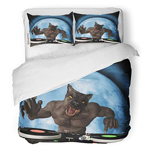 Semtomn Decor Duvet Cover Set King Size Lycan Dj Werewolf is in The House and Mixing 3 Piece Brushed Microfiber Fabric Print Bedding Set Cover]()