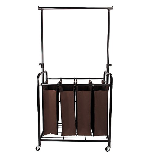 Bonnlo Mobile 4-Bag Laundry Hamper Sorter Cart with Adjustable Hanging Bar, Heavy-Duty Wheels with Large Bags,Brown