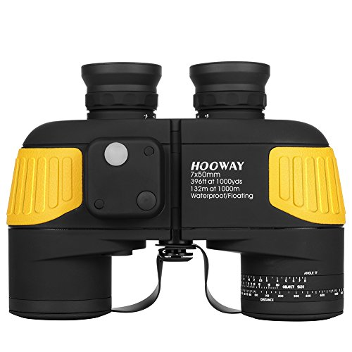 Hooway 7x50 Waterproof Fogproof Military Marine Binoculars w/Internal Rangefinder & Compass for Navigation,Boating,Fishing,Water Sports,Hunting and More