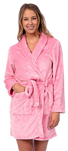 Patricia Womens Knee Length Ultrasoft Plush Shawl Collar Robe with Tie (Prism Pink, L/XL)