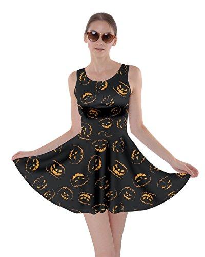CowCow Womens Black Happy Halloween Night Illustration Skater Dress, Black - XS ()