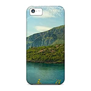 5c Scratch-proof Protection Cases Covers For Iphone/ Hot Village On A Lake Hillside Phone Cases