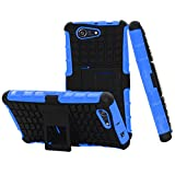 Yakamoz Hybrid Dual Layer Tough Rugged Protective Defender Armor Case Cover with Stand for Sony Xperia Z3 Compact / Z3 Mini (Not for Z3) with Free Screen Protector & Stylus Pen(Blue)