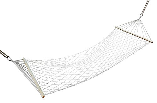 Premium Cotton Rope Hammock, Heavy Duty, Double Wide For 2 Person, Hardwood Wide Solid Wood Spreader Bars, Patio Yard Swing Bed, Large, By Clara (Yard Wood)