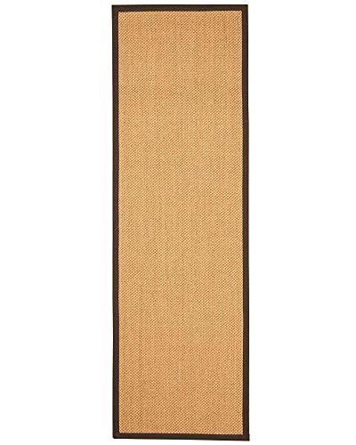 (NaturalAreaRugs Rustic Sisal Fiber Runner Rug, Handmade in USA, 100 Percent Sisal, Non-Slip Latex Backing, Durable, Stain Resistant, 2' 6'' x 8' Brown Border)