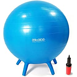 """WALIKI TOYS Children's Chair Ball with Feet, Alternative Classroom Seating (Inflatable Balance Ball Chair With Stability Legs for School, Pump Included, 18""""/45CM, Blue)"""