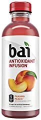 Bai Panama Peach Antioxidant Infused Beverage delivers delicious fruity refreshment without unwanted sugar and calories. Infused with antioxidants and made with no artificial sweeteners, Bai Panama Peach has only 5 calories and 1 gram of suga...