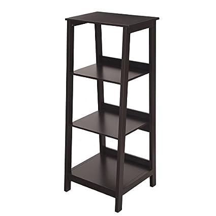 Asense Wood Bookcase Ladder 3 Tier Shelf Black