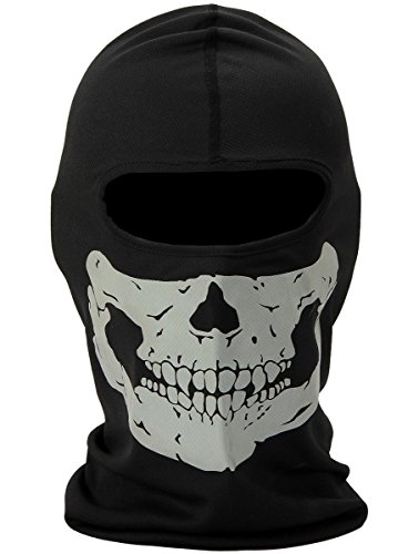 Nuoxinus Black Ghosts Balaclava Skull Full Face Mask for Cosplay Party Halloween Motorcycle Bike Cycling Outdoor Skateboard Hiking Skiing Snowmobile Snowboard ()