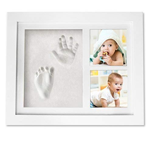 Baby Handprint Keepsake Footprint Photo Frame Kit - Baby Shower Registry Gifts & Nursery Room Decor for Newborn Girl Boy - Cast Clay Imprint of Kids Hand Feet in Wooden Box - A Unique Wall Decoration from Care Treasure
