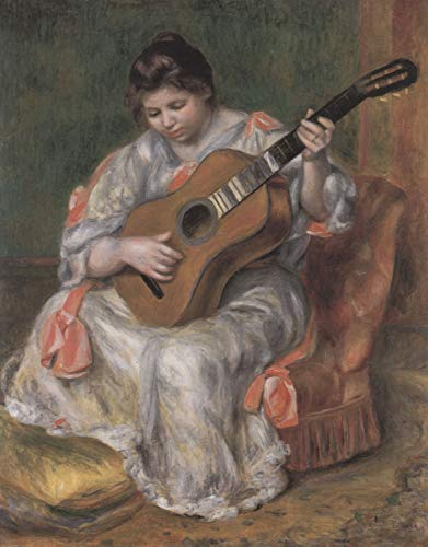 (Home Comforts Peel-n-Stick Poster of Renoir, Pierre -Auguste - Woman Playing Guitar Vivid Imagery Poster 24 x 16 Adhesive Sticker Poster Print)
