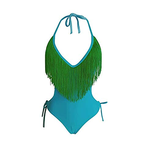 - ACE&Young Women's Deep V Neck Sexy Monokini One Piece Swimsuits Tie Bikini with Tassels Green