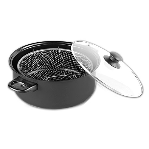 Gourmet Chef - Gourmet Chef JL-5304K Non-Stick Deep Fryer with Frying Basket and Glass Cover, 6.5-Quart
