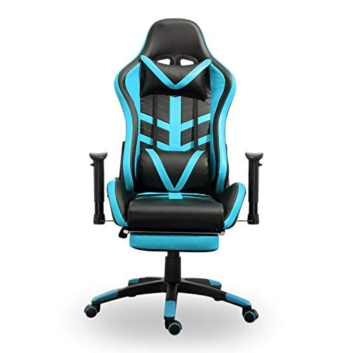 Samincom High Back Large Size PU Leather Gaming Chair Racing Style Chair Office Chair Executive and Ergonomic Style Swivel Chair with Extra Soft Headrest Lumbar Cushion Footrest Black Lake Blue