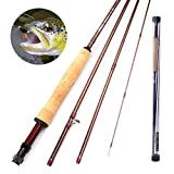 Cheap RUNCL Fly Fishing Rod Seagull I, Fly Fishing Pole 4-Piece – Fuji A Guides, Solid Wood Reel Seat, High-Grade Cork Grip, Stainless Steel Hook Holder (Medium Fast, 9′ 5#)
