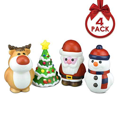 Alcoon 4 Pack Christmas Squishies Toys Soft Slow Rising Jumbo Squishies Cream Scented Stress Relief Hand Toys with Santa Snowman Christmas Tree Cow Gifts for Christmas