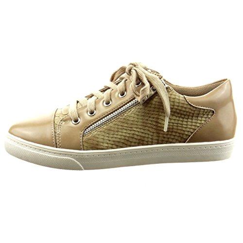 Sopily - Scarpe da Moda Sneaker slip-on alla caviglia donna pelle di serpente zip verniciato Tacco a blocco 2 CM - Khaki