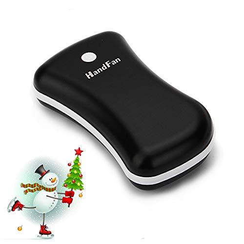 Rechargeable Hand Warmer, HandFan Ergonomic Metal USB Electric Hand Warmer Pocket Portable Hand Warmer Small Hand Warmers for Women/Men/Kids+5200mAh 2.1A Power Bank+LED Flashlight