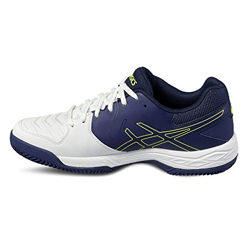 Asics Gel-Game 6 Clay, Zapatillas de Tenis para Hombre Varios colores (White /         Indigo Blue /         Safety Yellow)