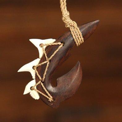 Manu Makau (Shark Fish Hook) Maori Wooden Necklace w/3 Teeth Shark's Tooth Wood Necklace!