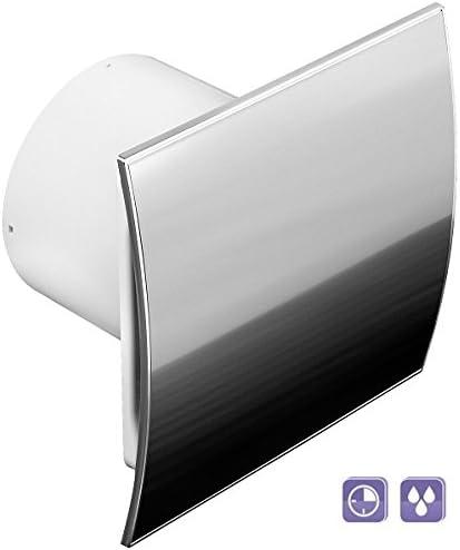 Ø 100mm ventilateur salle de bain Design Acier Inoxydable courbe avec capteur d'humidité hygrostat et minuterie Wallair et anti-retour wei100h Ventilateur Ventilateur avant Ventilateur mural