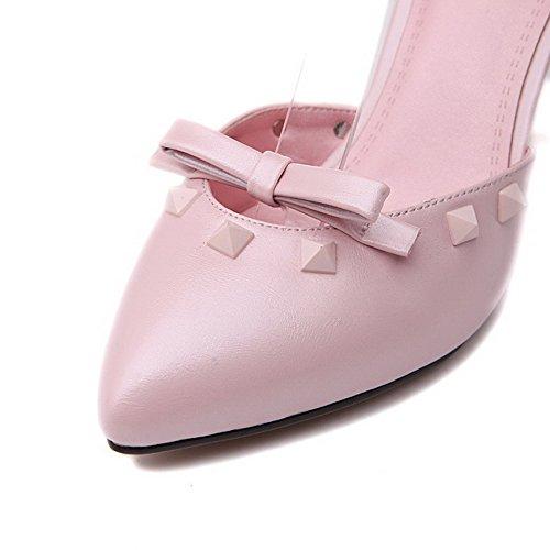 Amoonyfashion Womens Wees Gesloten Teen Gesp Pu Solide Spikes Stiletto Pumps Schoenen Roze