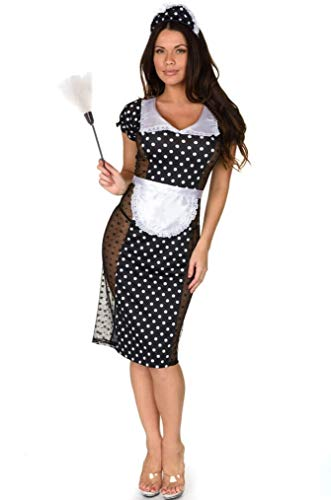 Costume Maid French Velvet - Velvet Kitten Private French Maid Adult Sexy Costume (Large/Extra Large, Black)