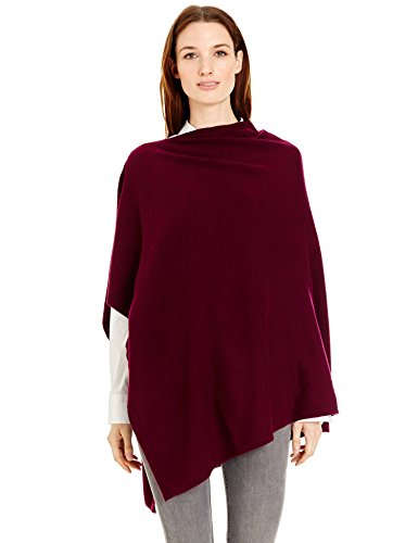 New York Cashmere 100% Pure Cashmere Draped Poncho (Aubergine) by New York Cashmere