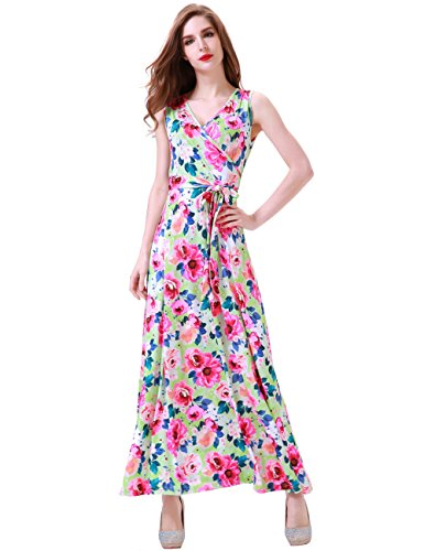 (Aphratti Women's Bohemian Sleeveless V Neck Wrap Front Maxi Long Dress Small Green Floral)