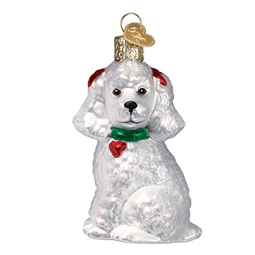 Old World Christmas Glass Blown Ornament with S-Hook and Gift Box, More Dogs Collection (Poodle [White]) ()