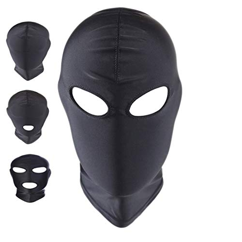(ATHX Black Breathable Open Eyes Spandex Zentai Costume Hood Mask (Black Open)